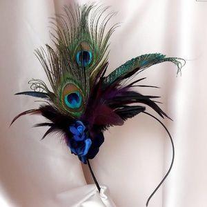 Never-Worn Peacock Feather Fascinator Headband